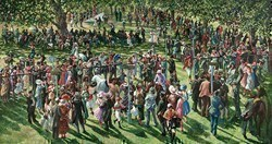 The Winners Enclosure Ascot by Sherree Valentine Daines -  sized 48x26 inches. Available from Whitewall Galleries